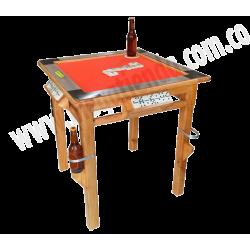 Mesa Domino / Poker con Portavasos Artesanal